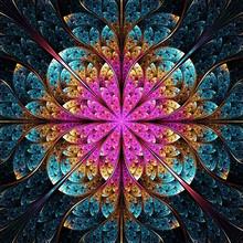 Colorful Geometric Fractal Flower