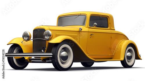Vintage Yellow Car - Perspective View. © Vizphotos