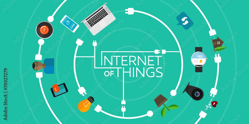 Fototapeta Internet of Things flat iconic illustration