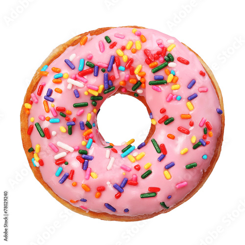 Donut with sprinkles isolated Wallpaper Mural