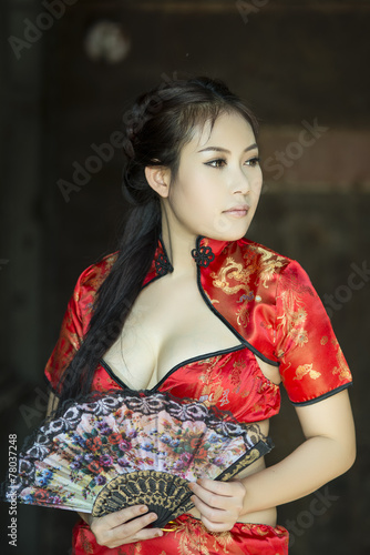 Sexy Chinese Woman Red Dress Traditional Cheongsam Buy This