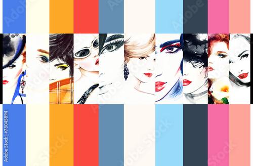 kolaz-modowy-fashion-kolorowe-ilustracje-z-portretami-kobiet-rysunek