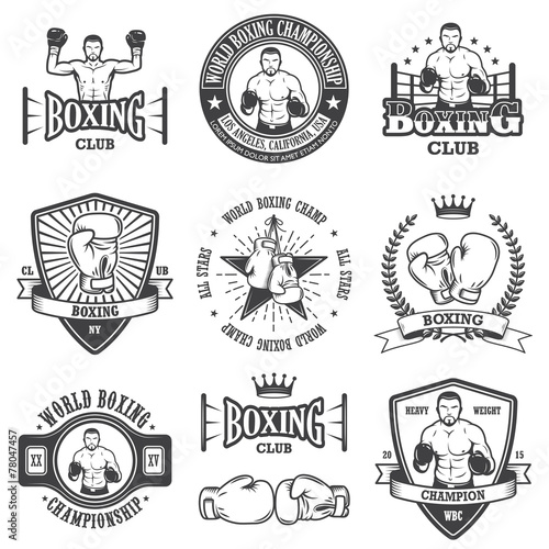 Láminas  Set of vintage boxing emblems