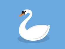 White Swan On The Lake, Illust...