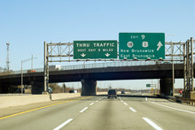 NJ Turnpike (I-95) Exit To New Brunswick In New Jersey