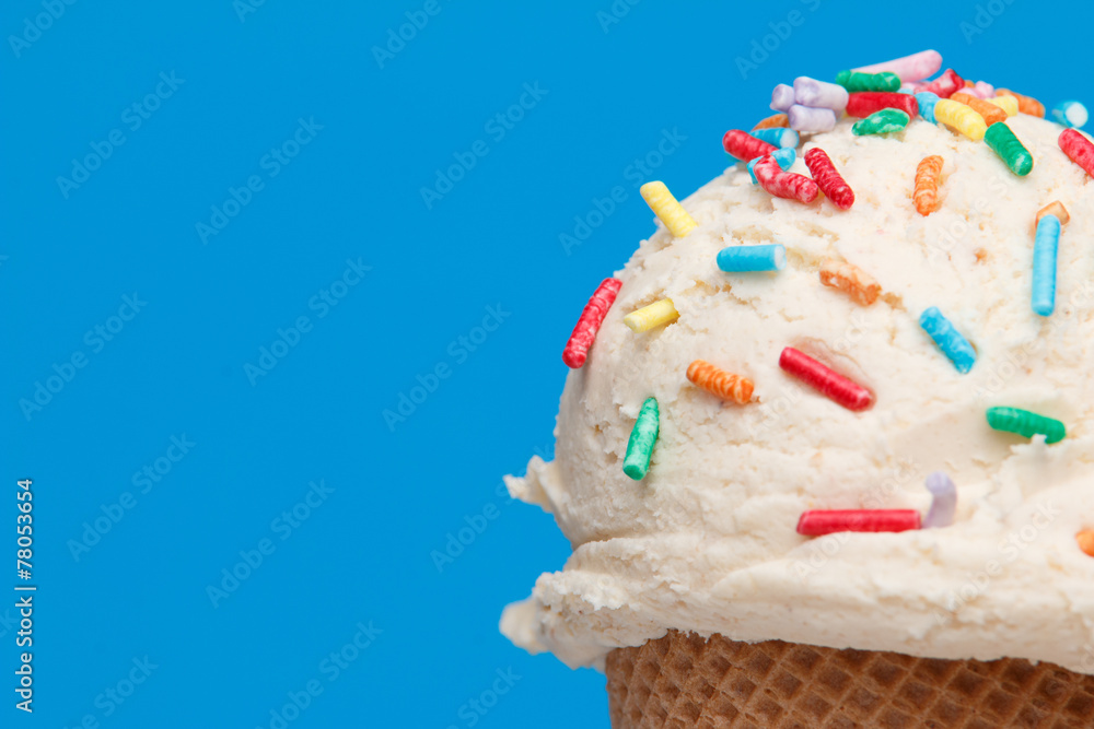 Fototapety, obrazy: ice cream with topics on colorful background
