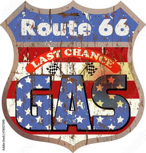 Vintage route 66 gas station sign, vector illustration