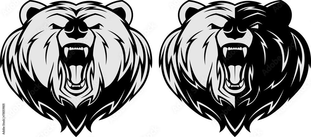 Fototapeta Angry bear head mascot