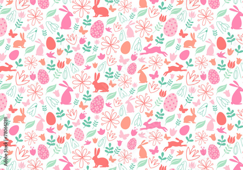 Cotton fabric Seamless Easter pattern, vector