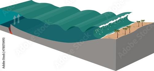 Fotografie, Obraz  tsunami diagram