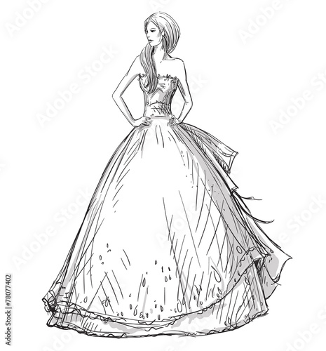 Fashion  Vector sketch. Long dress. Bride. Poster