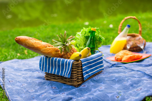 Keuken foto achterwand Picknick Picnic basket with fruits, bread and bottle of white wine