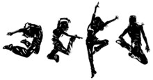 Young Woman Dancers Jumping