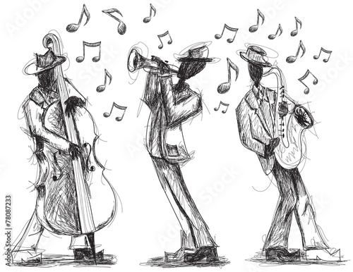 Jazz band doodles Wallpaper Mural