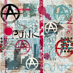 Tapeta Grunge newspaper with word Punk.