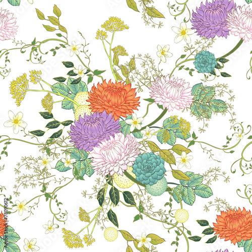 Carta da parati vintage ornate chrysanthemum seamless pattern
