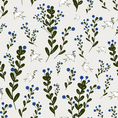 Naklejkaadorable floral seamless pattern with birds element