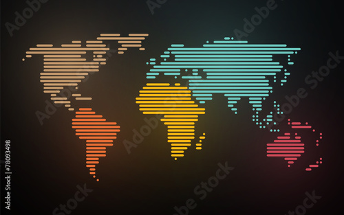 Photo Stands World Map simple map of the world created lines on blurred neon background