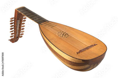 Photo lute on white background