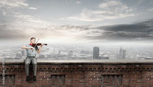 Man play violin Fototapete