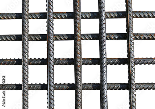 Stampa su Tela Bunch of several reinforcement bars isolated