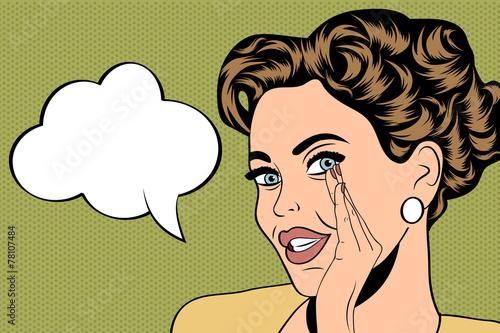 Zdjęcie XXL pop-art ładny retro kobieta w stylu komiksów z wiadomością