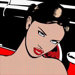 Obraz na PlexiPortrait de la femme à la voiture