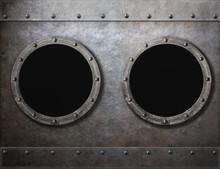 Submarine Or Old Ship Two Portholes Metal Frames Background