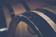 Retro Wine Barrels With Vintage Film Style Filter