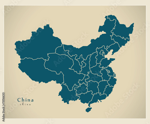 Cuadros en Lienzo  Modern Map - China with provinces CN