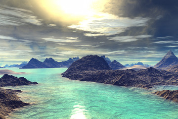 Obraz na Szkle 3D rendered fantasy alien planet. Rocks and lake