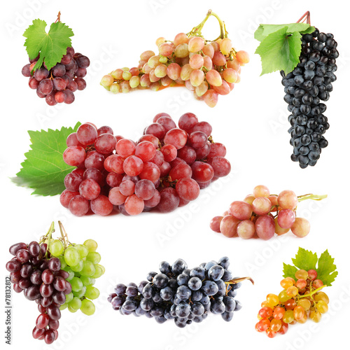 Assortment of ripe sweet grape isolated on white Fototapete