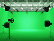 canvas print picture - Pavilion Interior of Film Studio with Green Screen