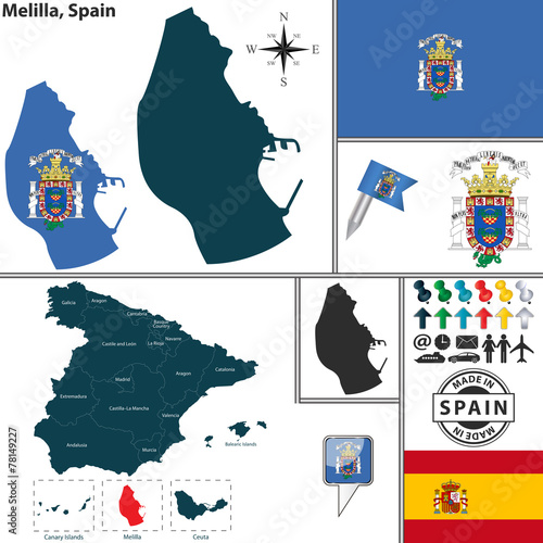 Map of Melilla, Spain