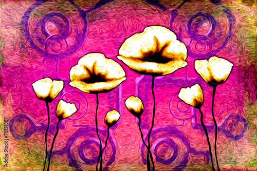 Tuinposter Roze Abstract flower oil painting