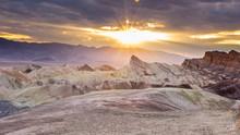 Zabriskie Point During Sunset In Death Valley National Park