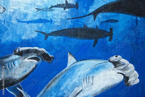 Obrazy do łazienki  hammerhead-shark-murales