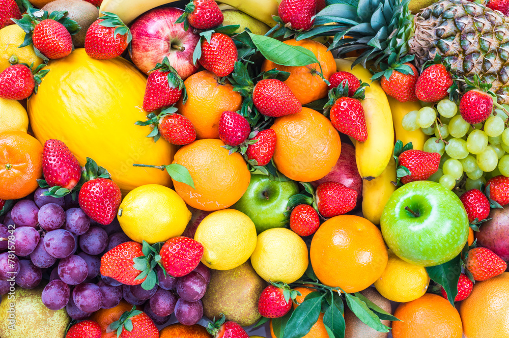 Fresh fruits mixed.Fruits background.Dieting, healthy eating.