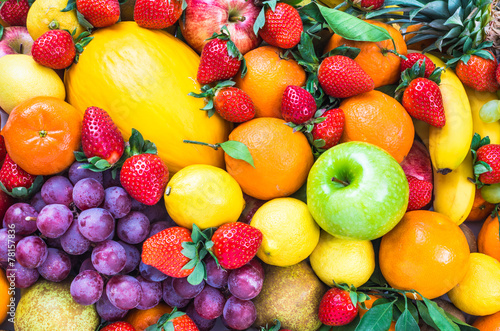 Poster Fruit Fresh fruits mixed.Fruits background.Dieting, healthy eating.