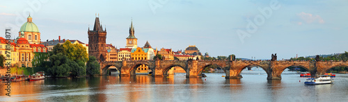 Panorama of Charles bridge in Prague, Czech republic