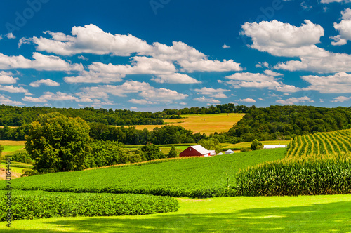 Farm fields and rolling hills in rural York County, Pennsylvania Fototapeta