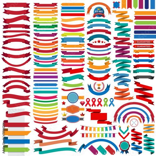Fotografie, Obraz  Mega collection of retro ribbons and labels