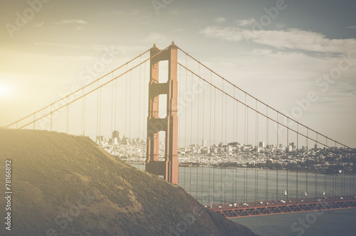 San Francisco Golden Gate Bridge Retro Film Style #78166892