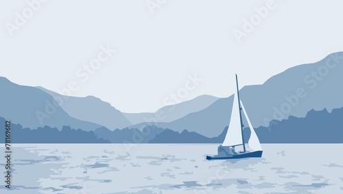 sailboat lake scene Canvas Print
