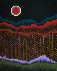 Obraz an abstract painting, suggesting trees and a moon