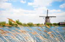 Water Arrogation Windmill View In Holland