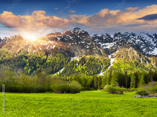 Poster Lime groen Beautiful spring landscape in the Swiss Alps, Bregaglia.