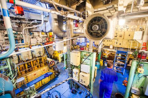 Fotografia Engine room on a cargo boat ship, engine room on an oil platform