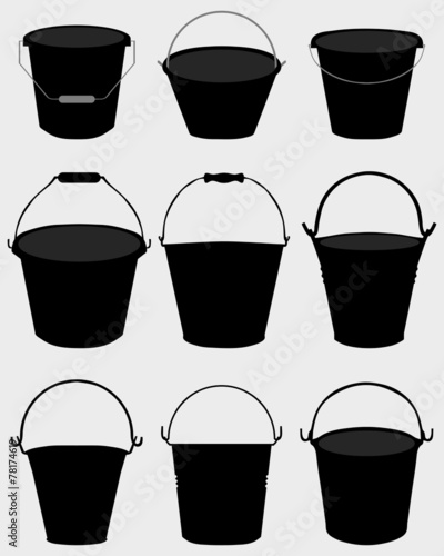 Black silhouettes of garden buckets, vector Wall mural