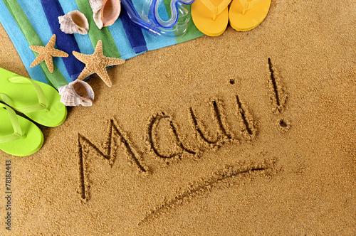 Fototapeta Maui! beach writing